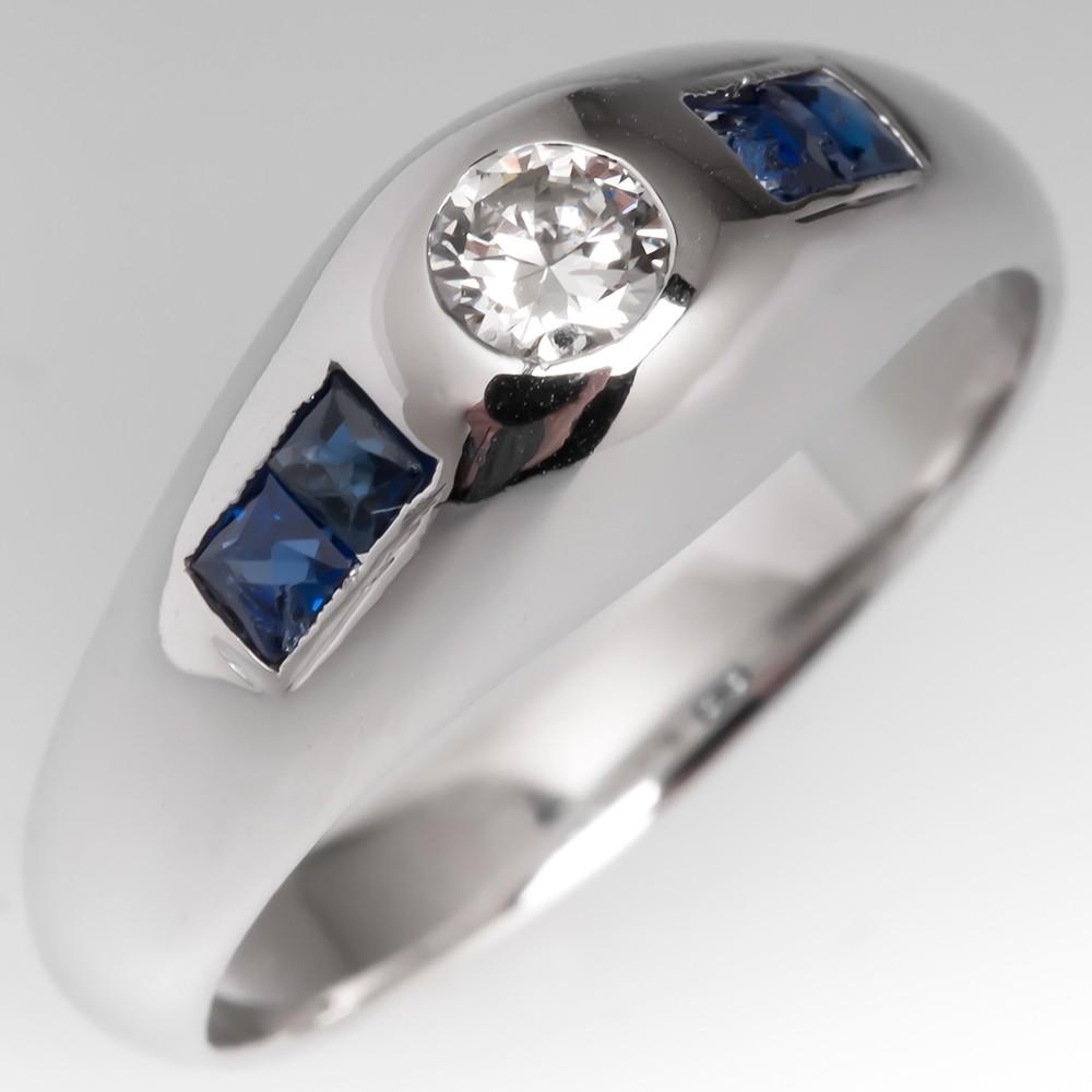Vintage Bezel Set Diamond & Blue Sapphire Ring 18K White Gold