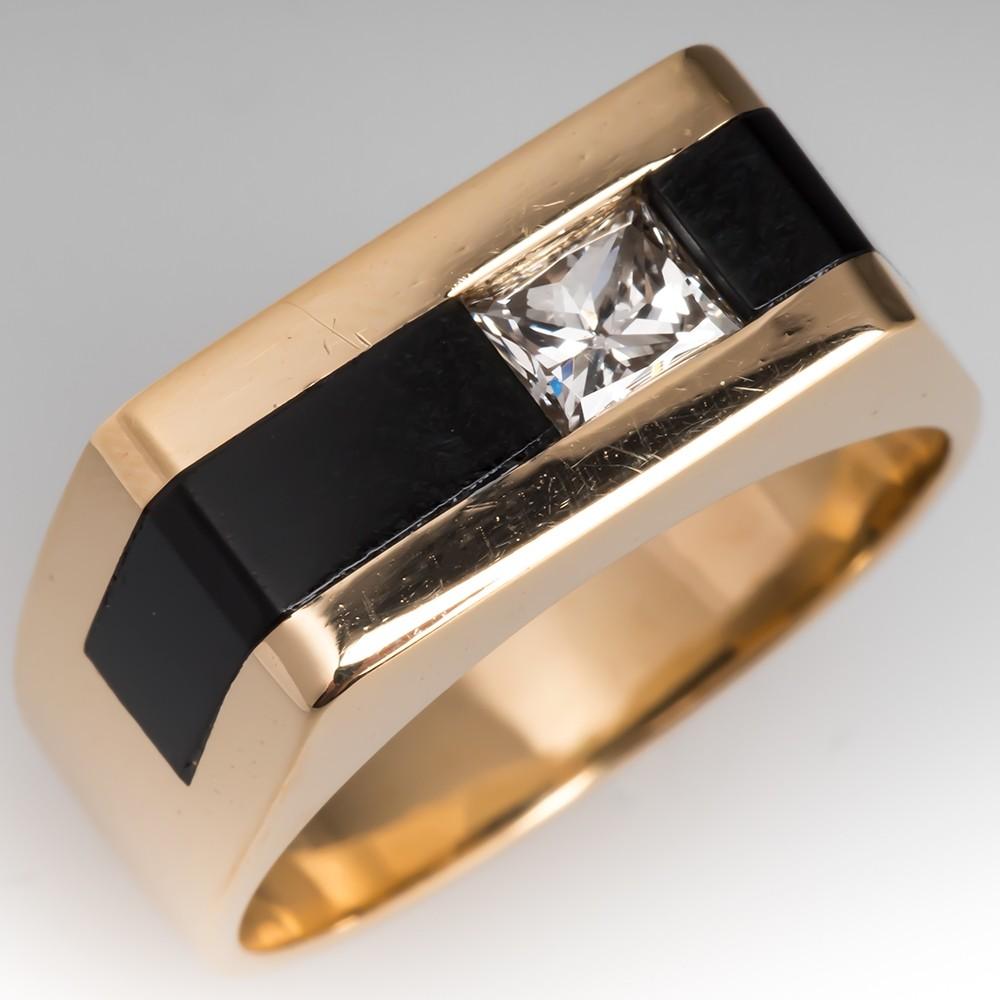 Mens Diamond & Black Onyx Inlay Ring 14K Gold