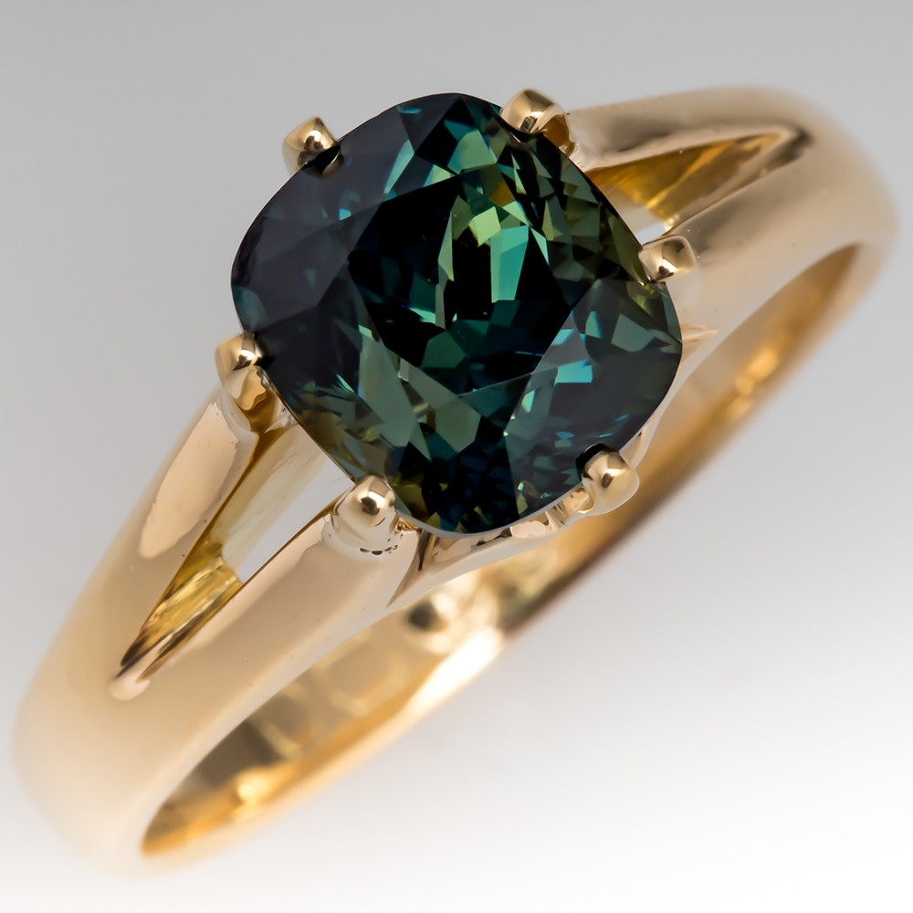 Cushion Cut 4 Carat Blue Green Sapphire Ring 18K Gold