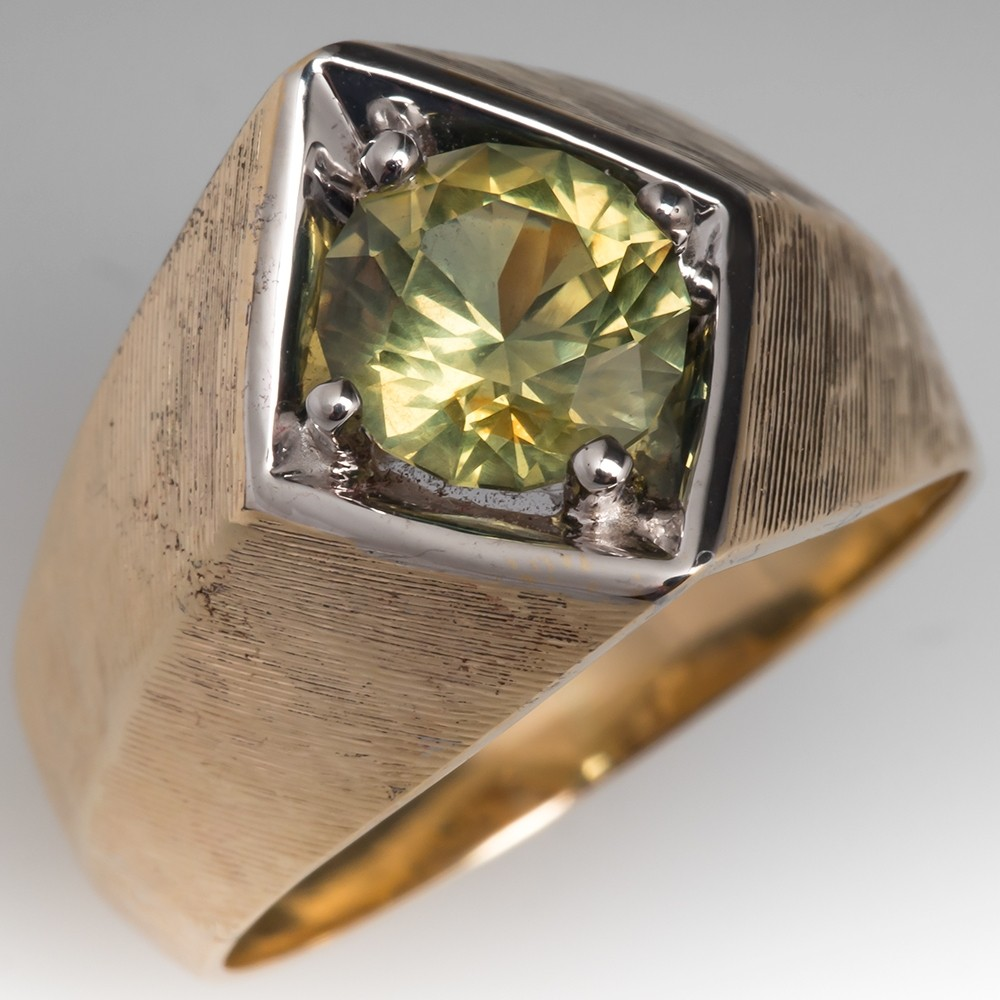 Vintage Mens Greenish Yellow Natural Sapphire Ring 14K Gold