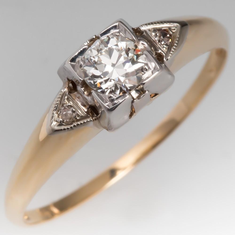 Vintage 1/4 Carat Old European Diamond Engagement Ring 14K