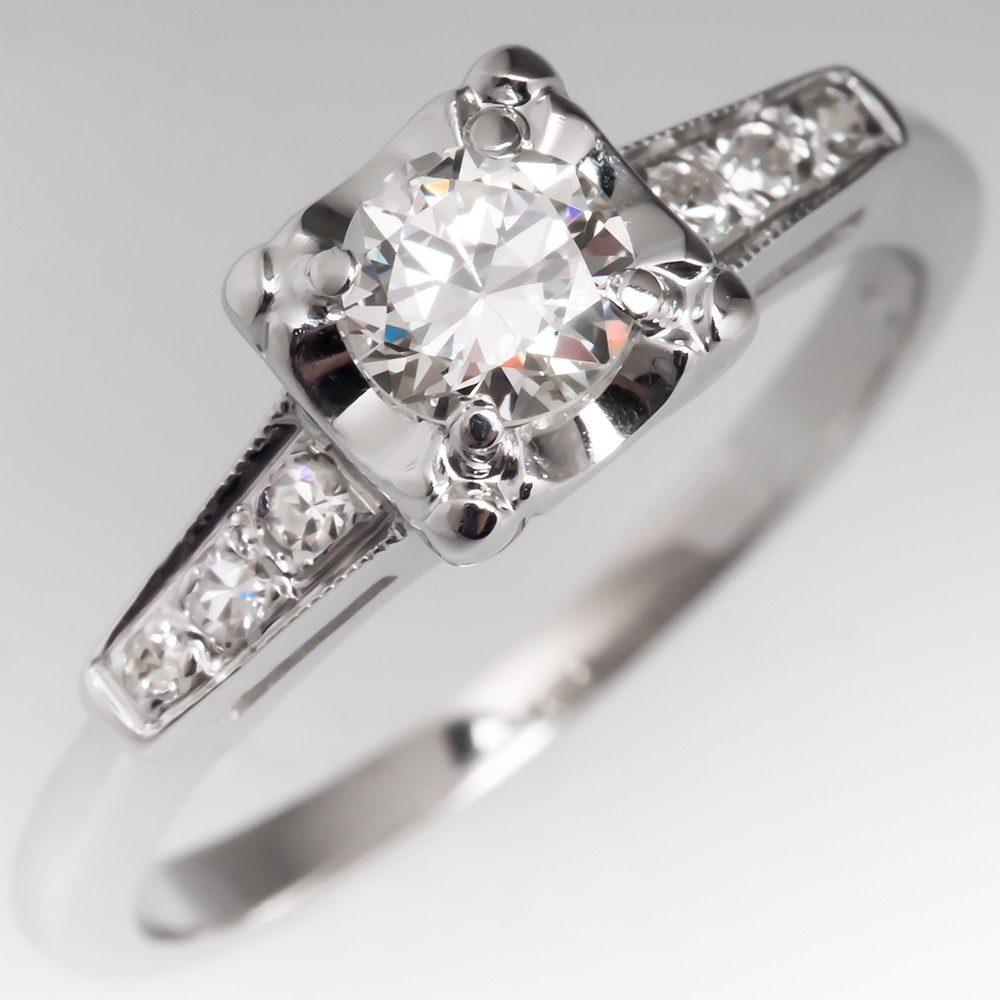 Vintage 14K White Gold Transitional Cut Diamond Engagement Ring