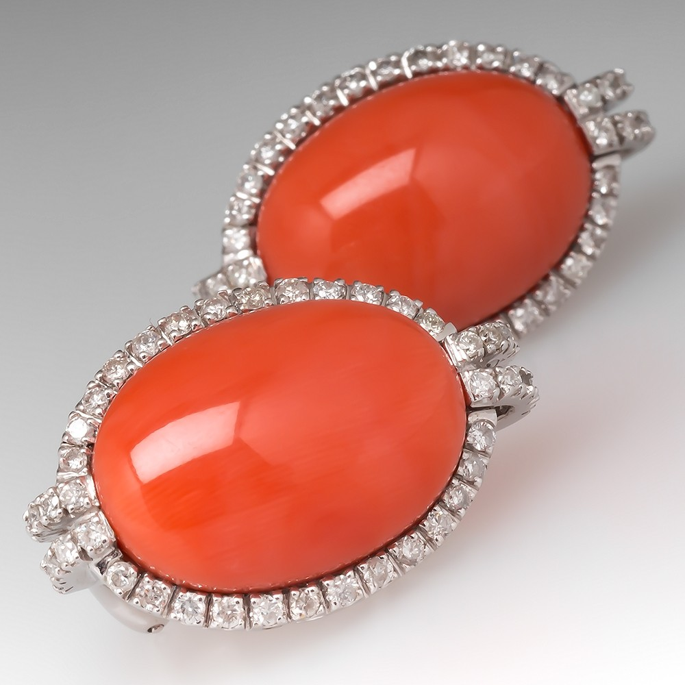 Natural Pink Coral & Diamond Earrings 18K White Gold