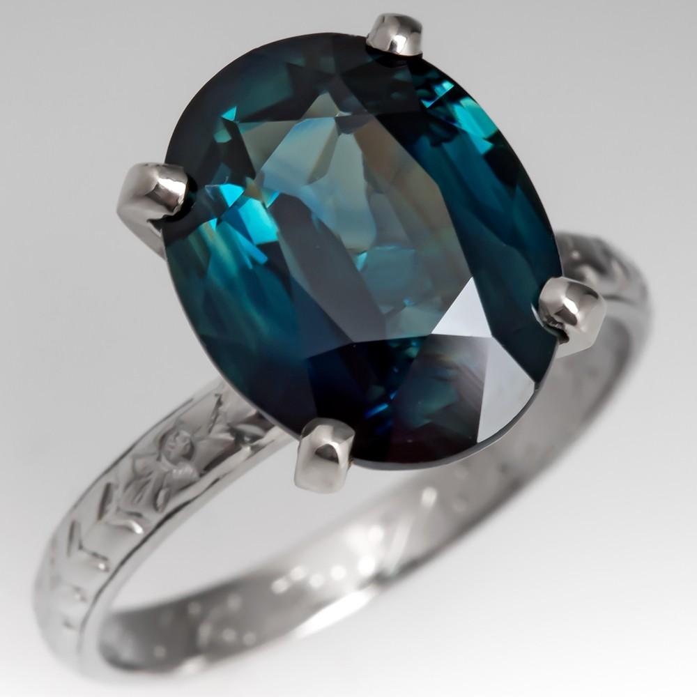 No Heat 5 Carat Blue Green Sapphire Engagement Ring 1920's Belais Band