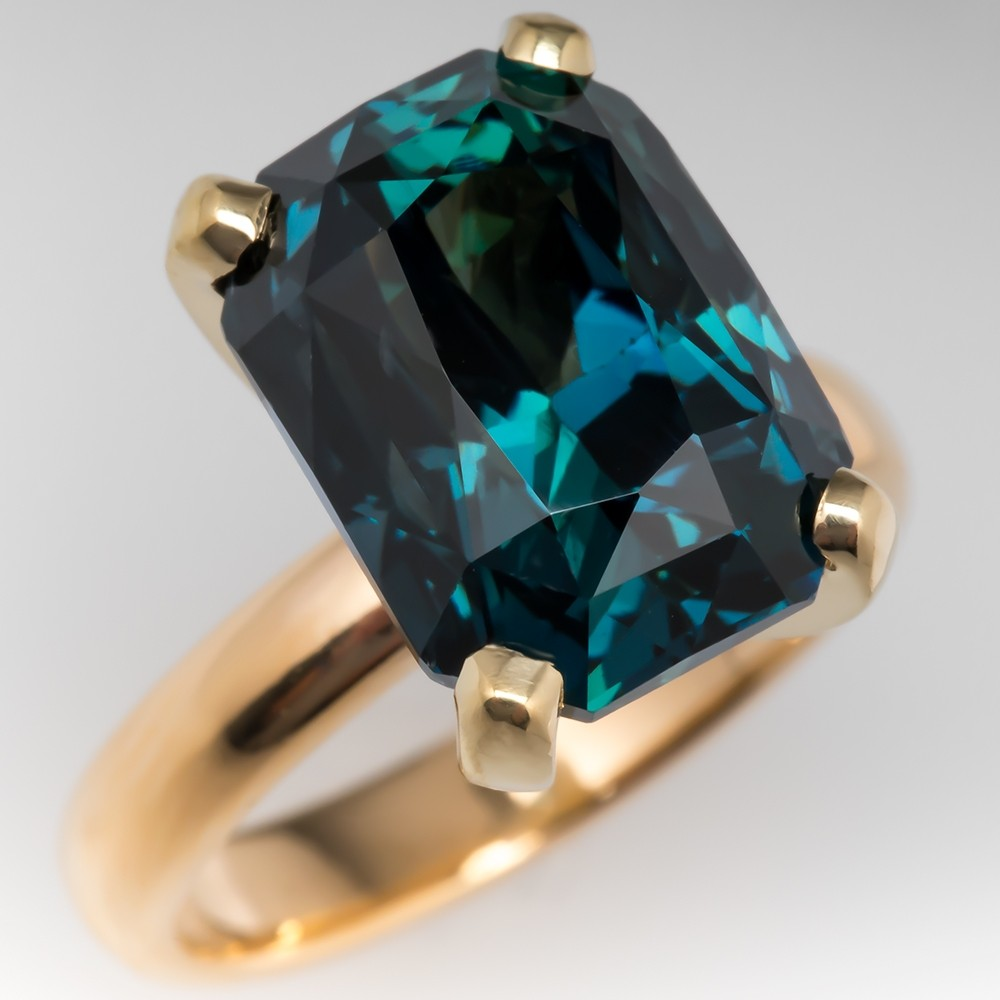 Amazing No Heat 12 Carat Peacock Blue Green Sapphire Cocktail Ring 18K