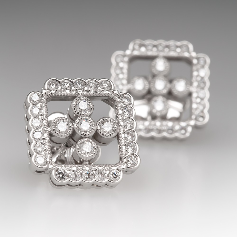 Beautiful 18K White Gold Diamond Rectangular Shape Stud Earrings