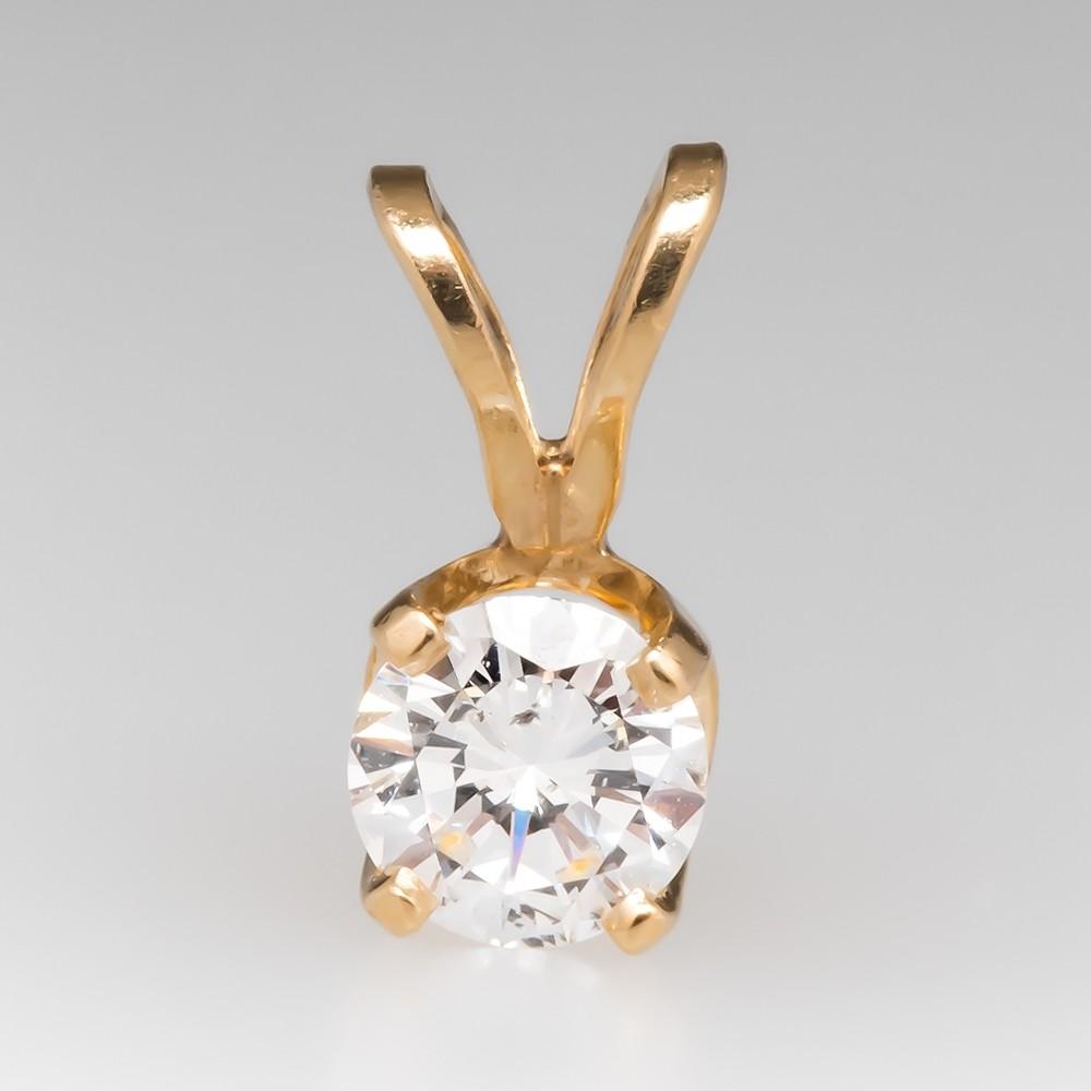 .29 Ct Diamond Solitaire Pendant 14K Yellow Gold