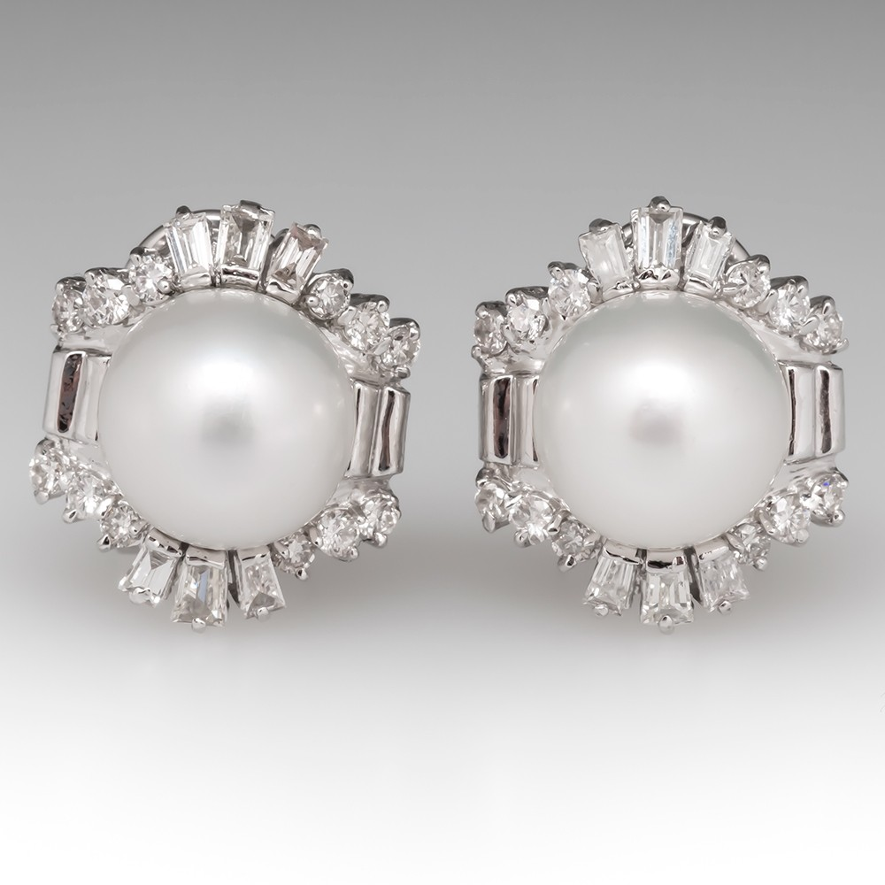 Retro Vintage Pearl & Diamond Earrings 18K White Gold