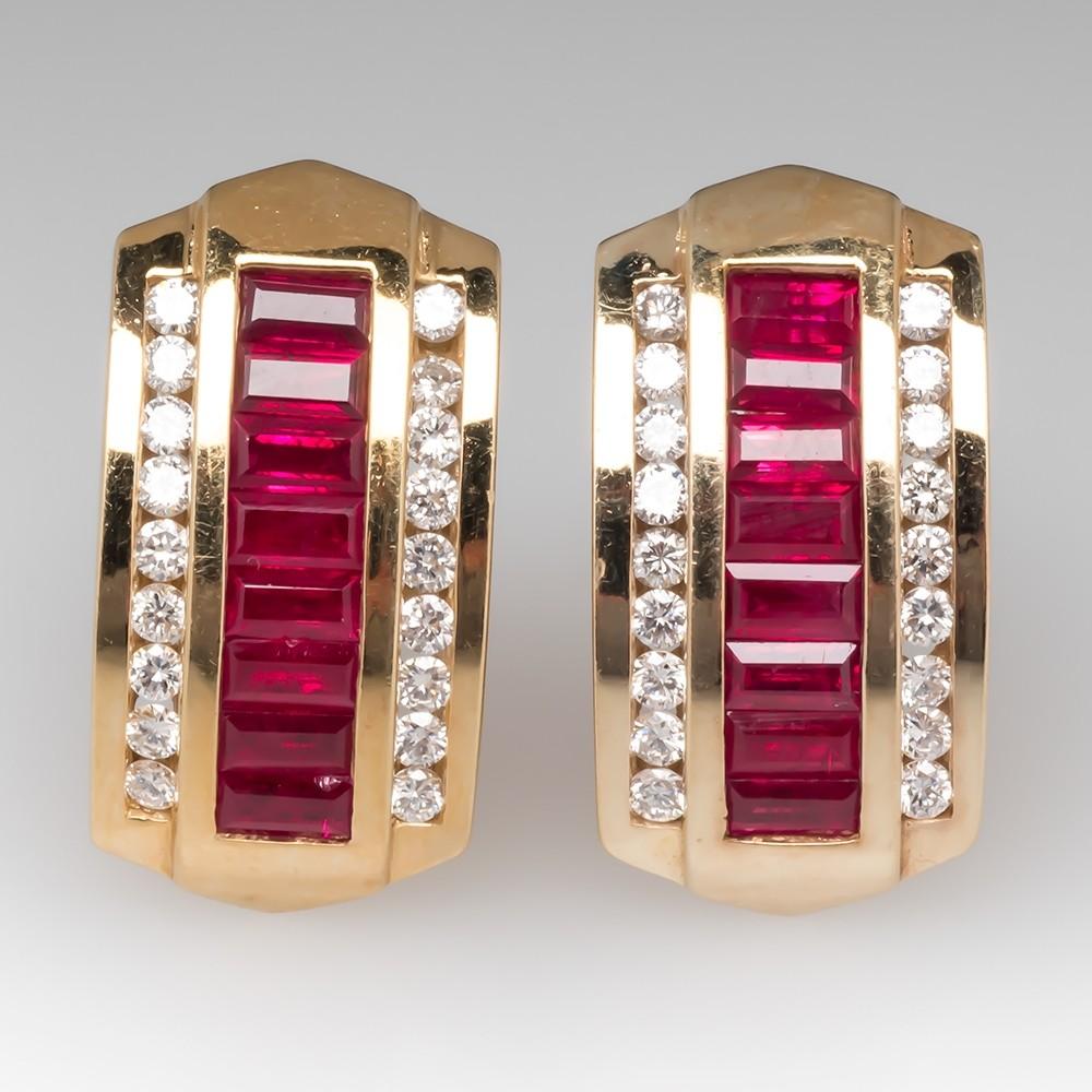 Beautiful Ruby & Diamond Huggie Earrings 14K Gold