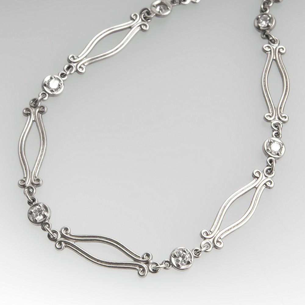 Ornate Platinum Diamond Station Necklace Platinum 16 Inch