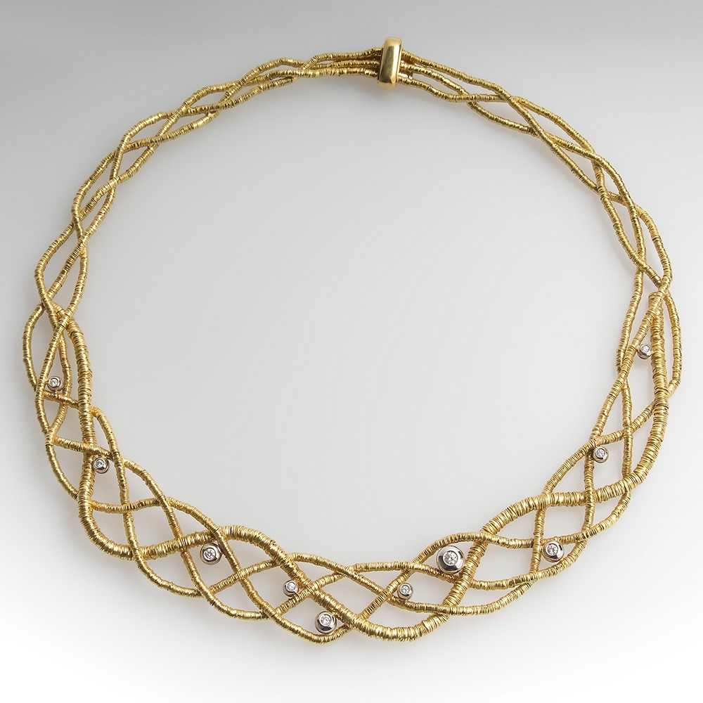 Orlando Orlandini Braided Coil Diamond Necklace 18K Yellow Gold