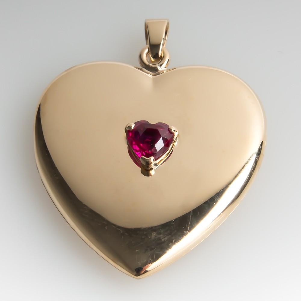 Large Heart Locket Slide Pendant w/ Ruby 14K Gold