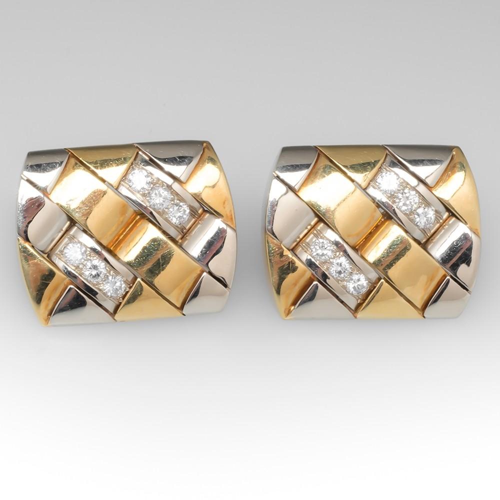 Two-Tone 18K Gold Diamond Huggie Earrings