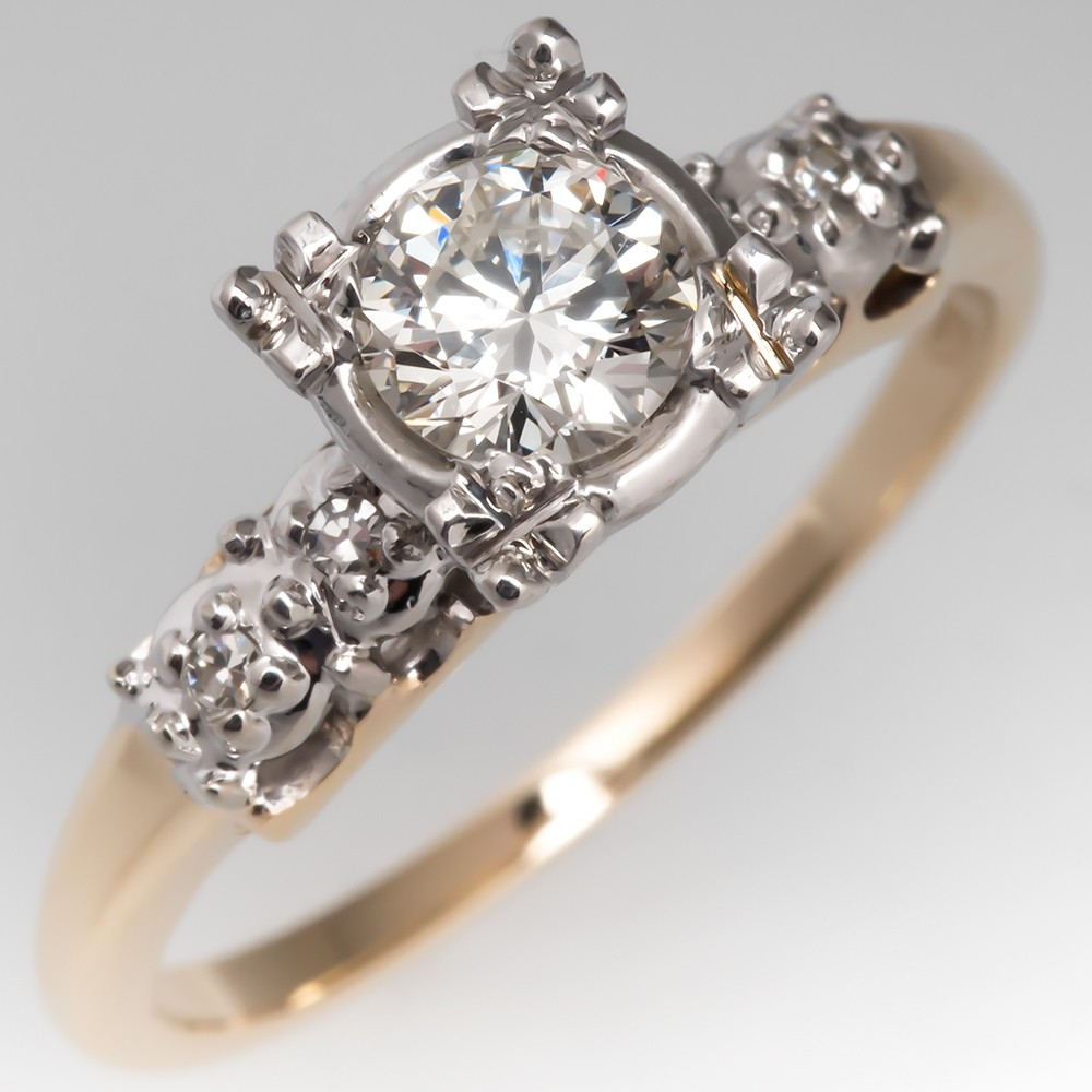 Lambert Bros Vintage Diamond Engagement Ring Two-Tone 14K Gold
