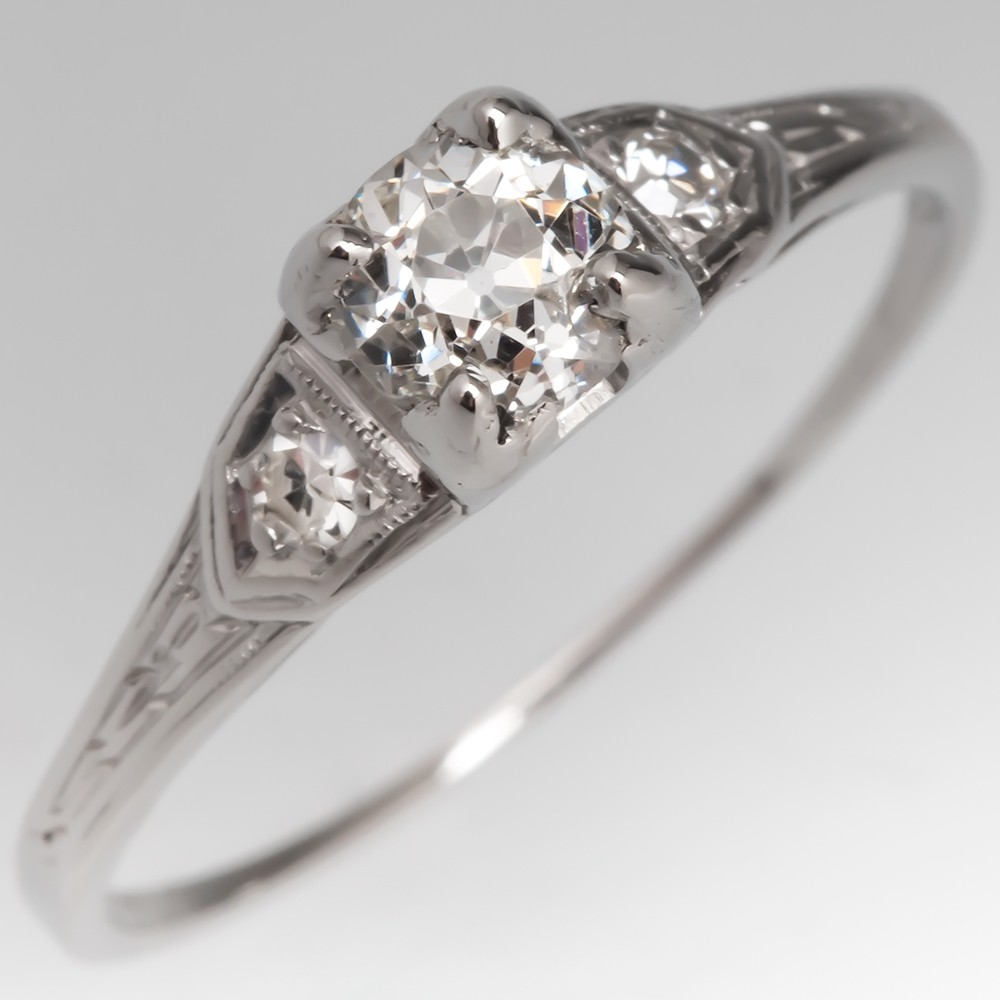 Engraved 1934 Antique Engagement Ring Old Euro Diamond Platinum