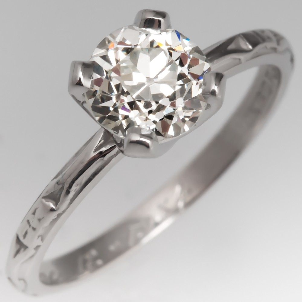 GIA Old Euro Diamond Solitaire Engagement Ring Engraved 1934 Wedding Band