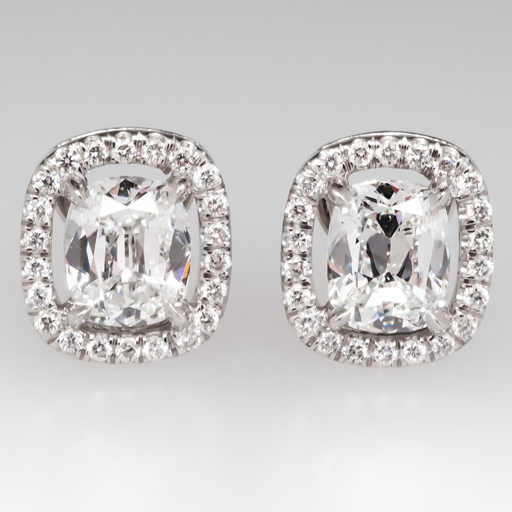 Gorgeous Cushion Cut Diamond Halo Stud Earrings in Platinum