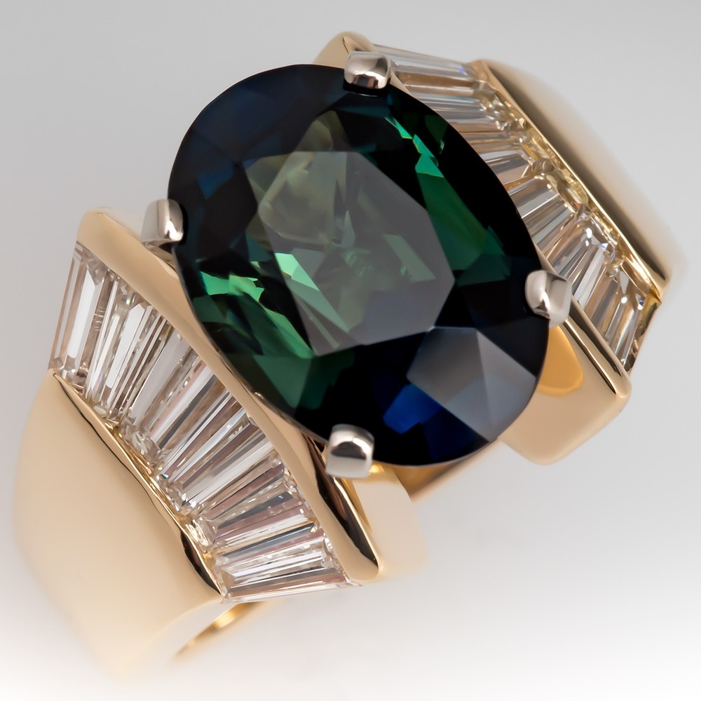 No Heat Natural Green Blue Sapphire & Diamond Cocktail Ring 18K Gold