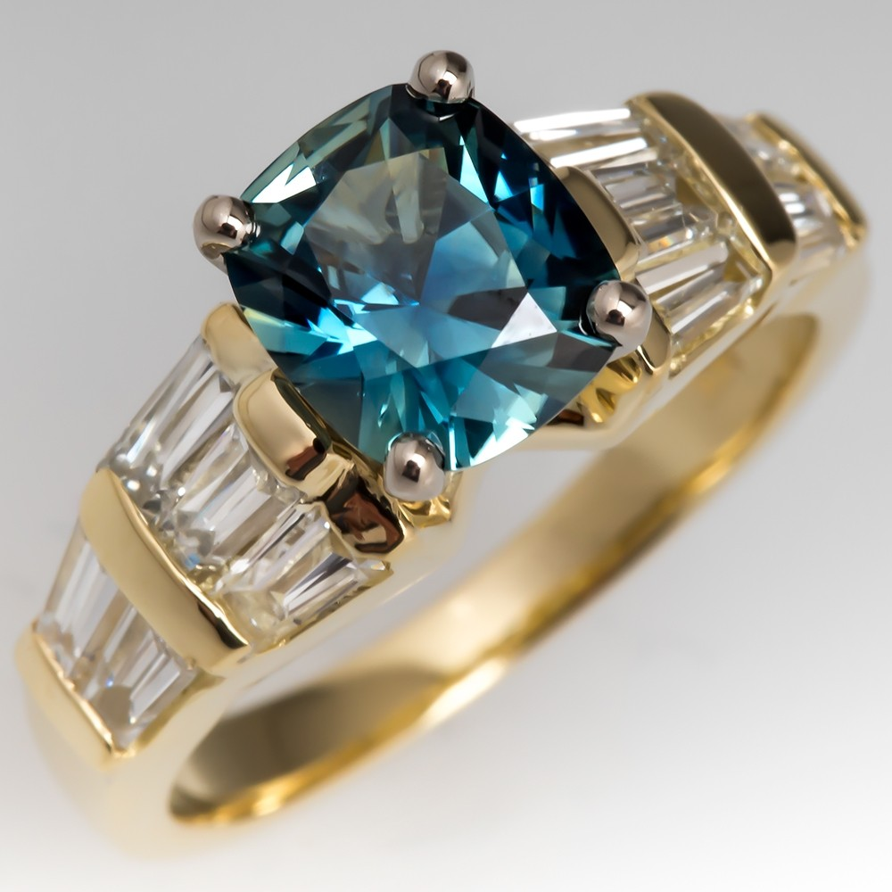 Cushion Cut Blue Green Sapphire & Baguette Diamond Ring 18K Gold