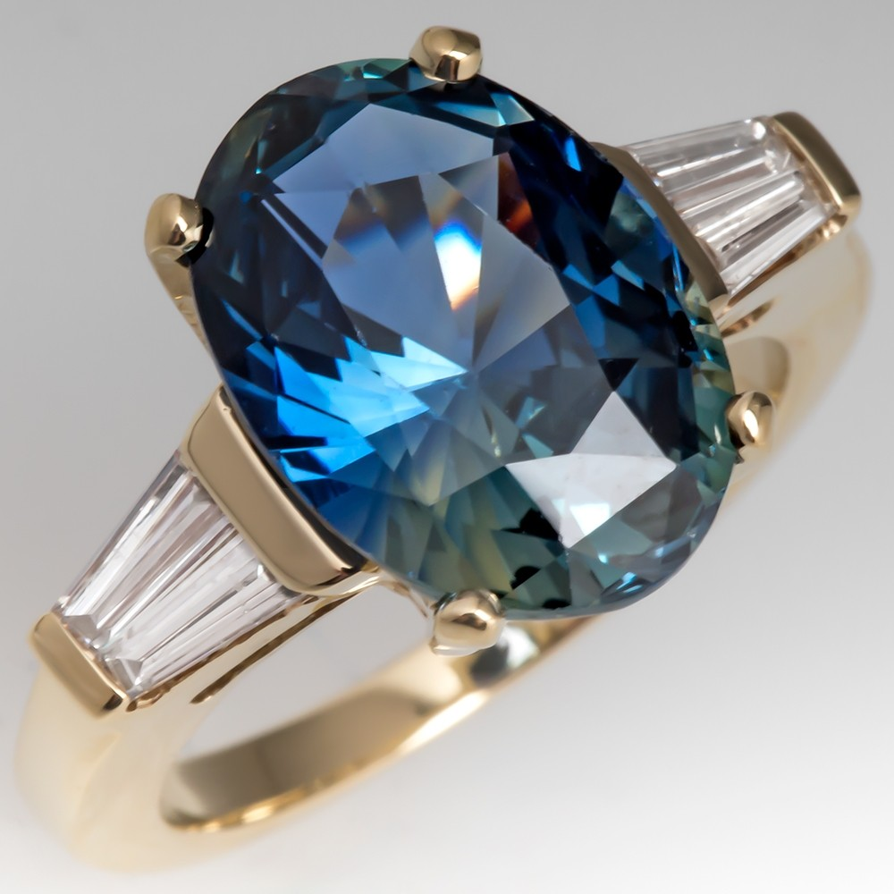 Natural No Heat 7 Carat Blue Green Sapphire Diamond Ring 14K Gold