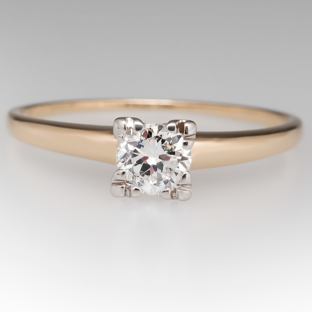 1940's Vintage Round Diamond Solitaire Engagement Ring 14K Gold Squared Setting