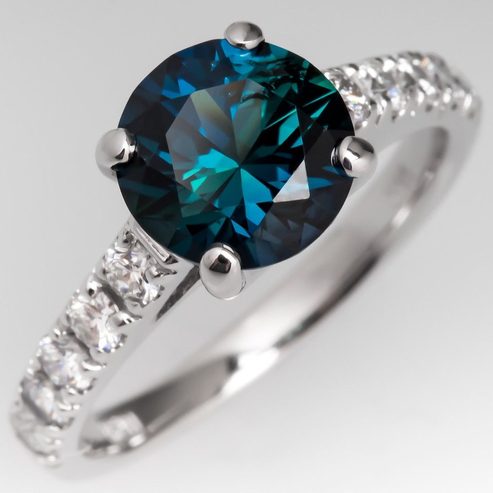 Beautiful Peacock Sapphire & Diamond Engagement Ring 14K White Gold