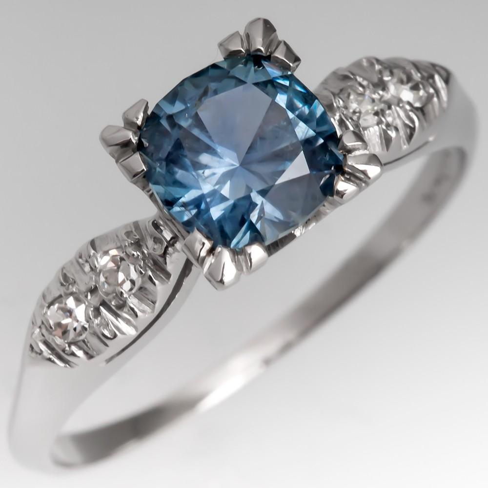 No Heat Montana Sapphire Engagement Ring 1940's Vintage Platinum Mount