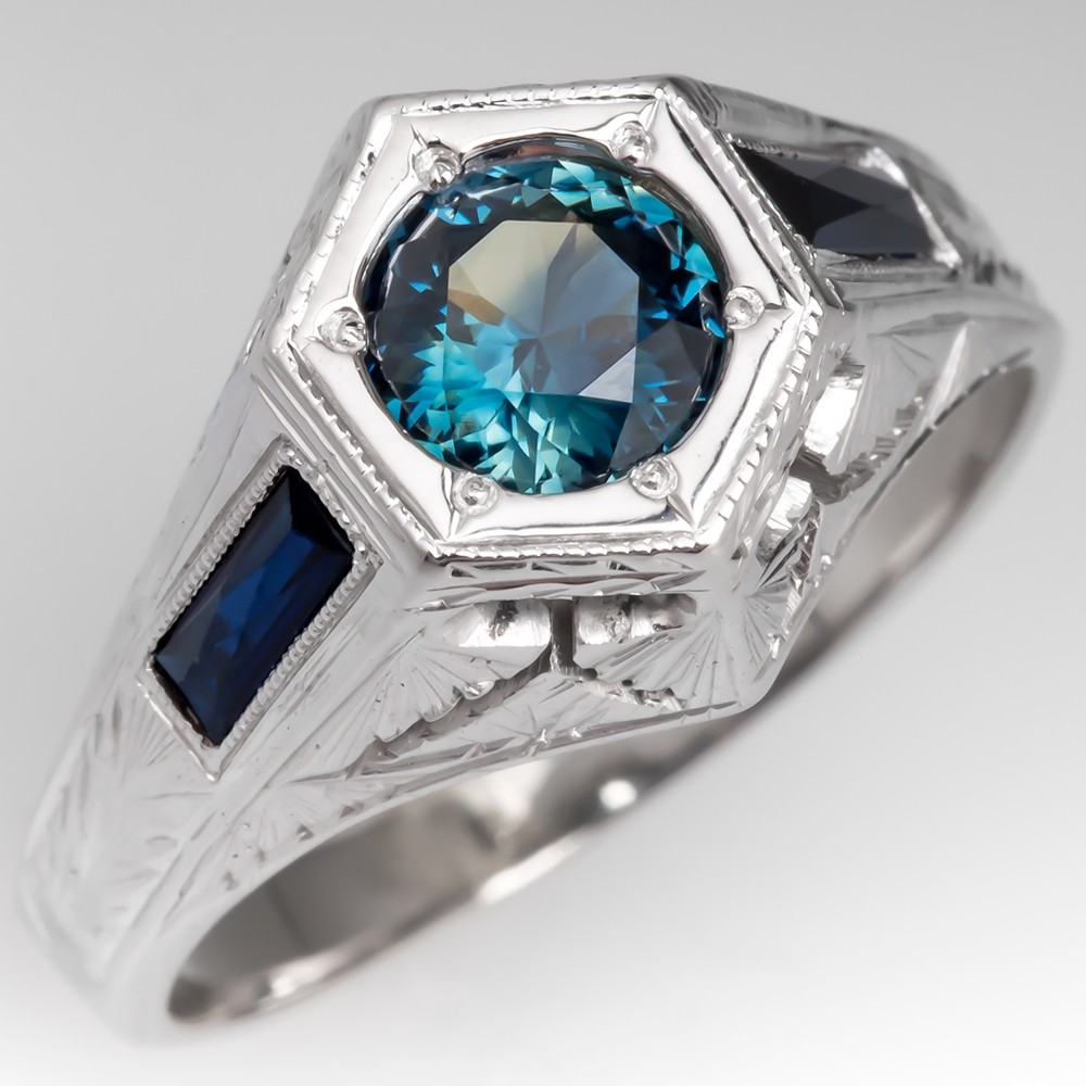 No Heat Blue Green Sapphire Mens Ring 18K White Gold