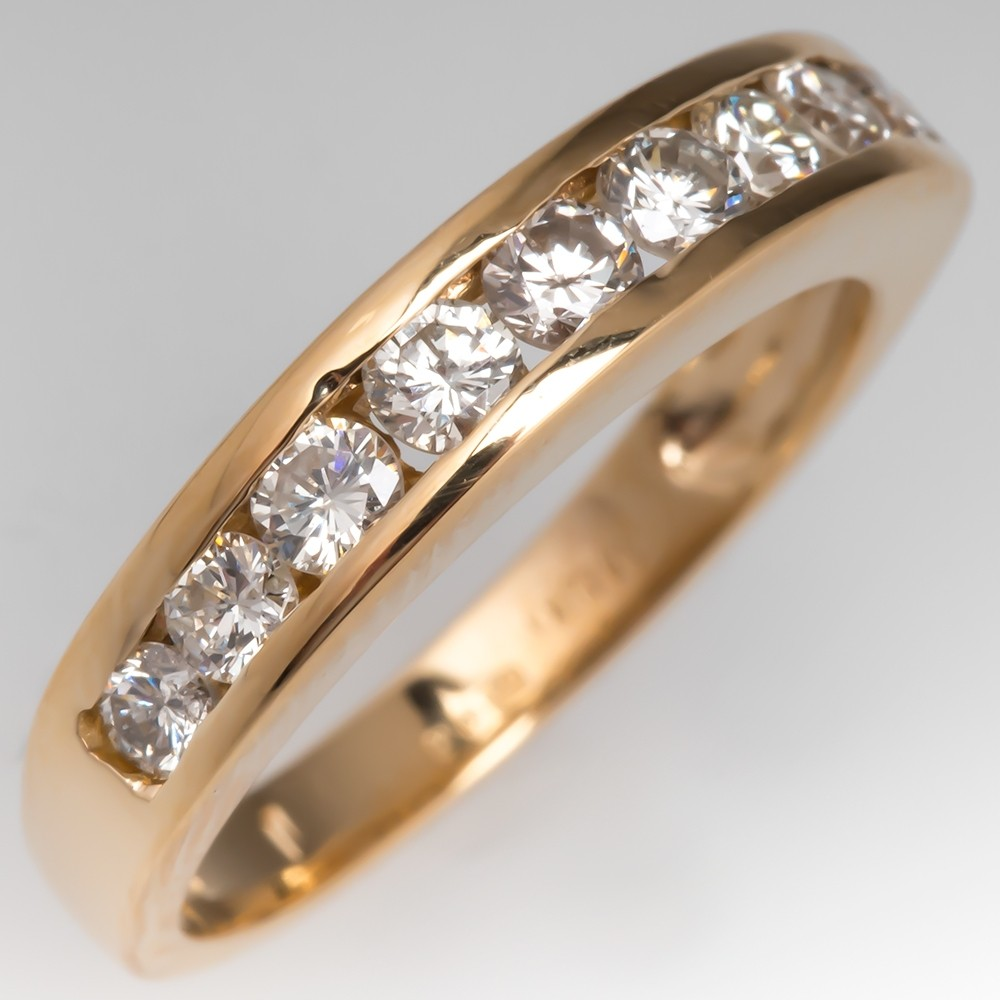 1/2 Carat Channel Set Round Diamond Wedding Band Ring 18K Gold