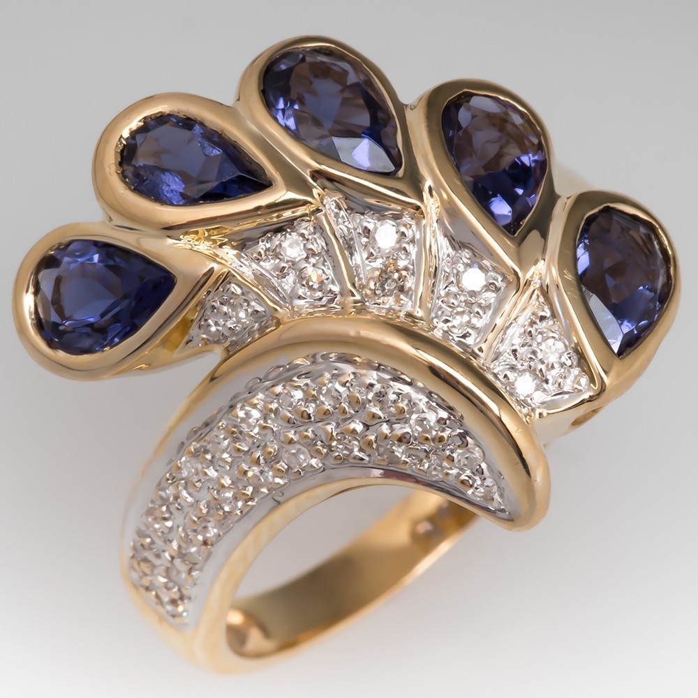 Laura Ramsey Iolite & Diamond Ring 14K Gold