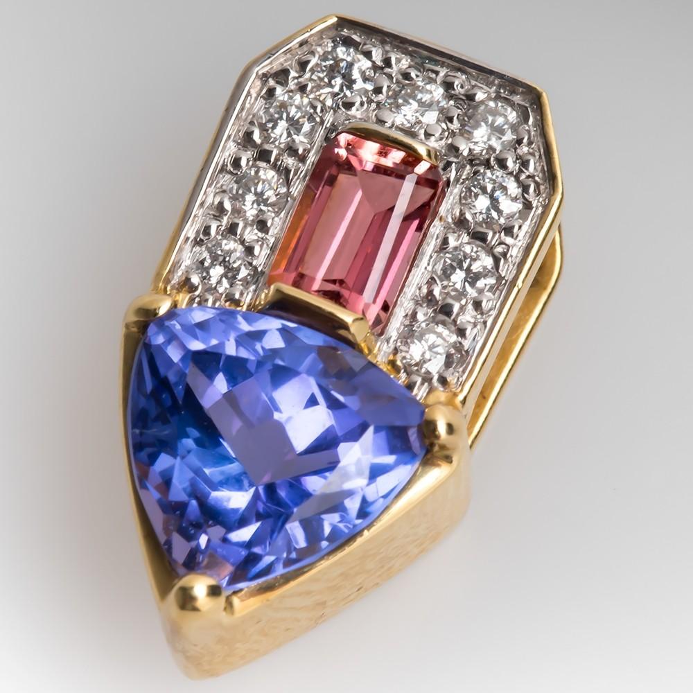 Tanzanite Slide Pendant w/ Diamonds & Pink Tourmaline 18K Gold