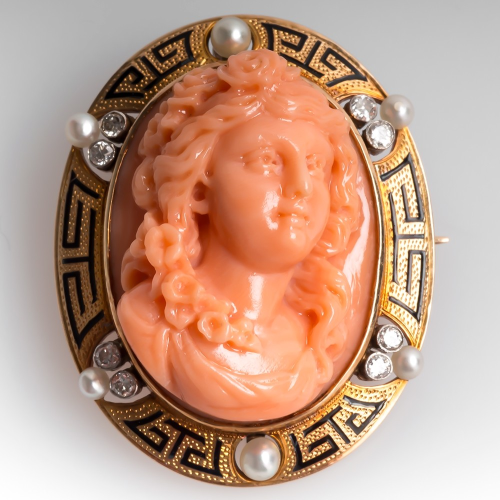 Antique Coral Cameo Pearl & Diamond Brooch Pendant 14K Gold