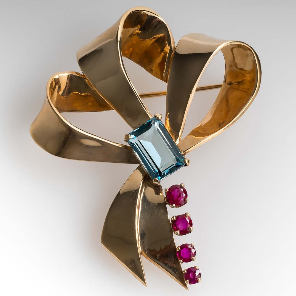 Large Vintage Retro Bow Pin Brooch Aquamarine & Rubies 14K Gold