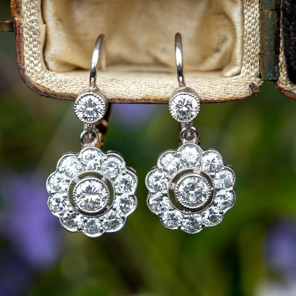 Diamond Floral Dangle Earrings Platinum & 18K Gold