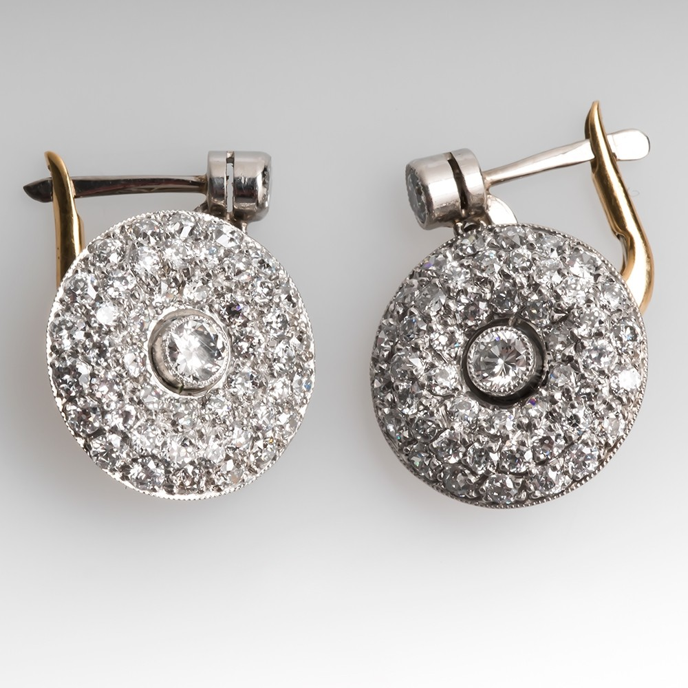 Vintage Diamond Cluster Drop Earrings 18K Gold & Platinum