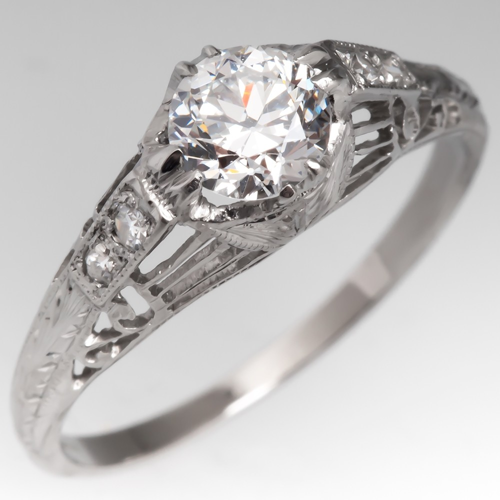 Vintage Engagement Ring .48 Carat Transitional Cut Diamond