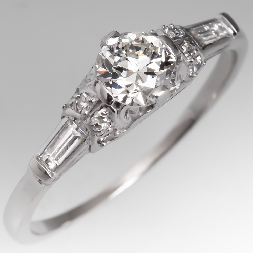 Lovely Vintage Transitional Cut Diamond Engagement Ring Platinum
