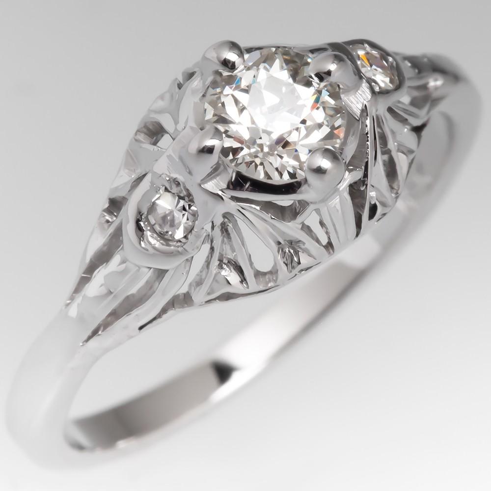 1920's Antique Filigree Old European Cut Diamond Engagement Ring 18k White Gold