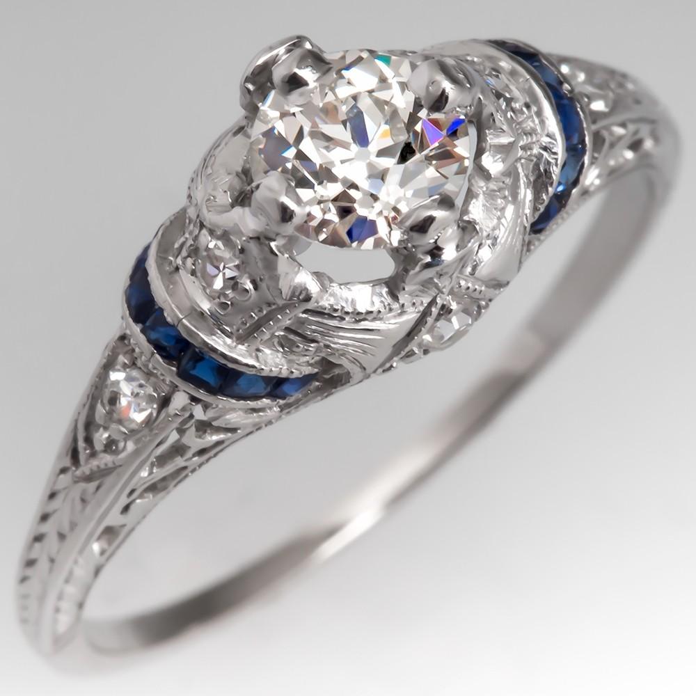 1930's Antique Diamond Engagement Ring w/ Accents Platinum