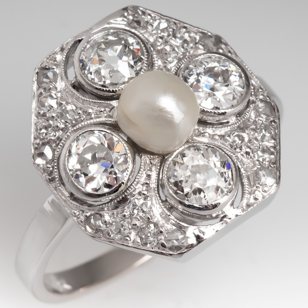 Antique Pearl & Old Euro Diamond Ring 18K