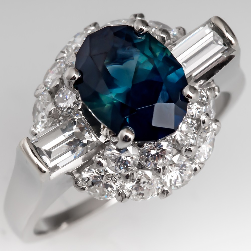 No Heat Dark Blue Green Sapphire Cocktail Ring w/ Diamonds Platinum