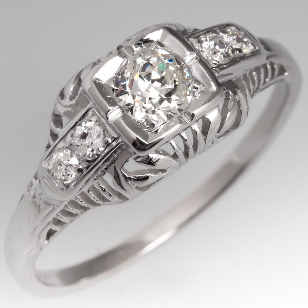 Old Euro Diamond Vintage Filigree Engagement Ring 10K