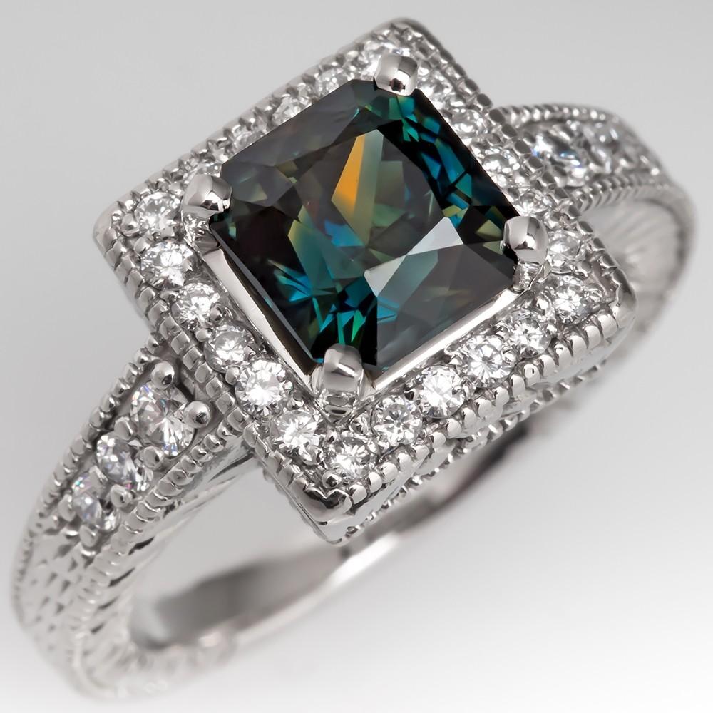 3 Carat Rich Blue Green Sapphire Engagement Ring Diamond Halo 18K