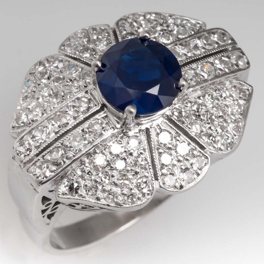Dark Blue Sapphire & Diamond Vintage Cocktail Ring 14K Gold