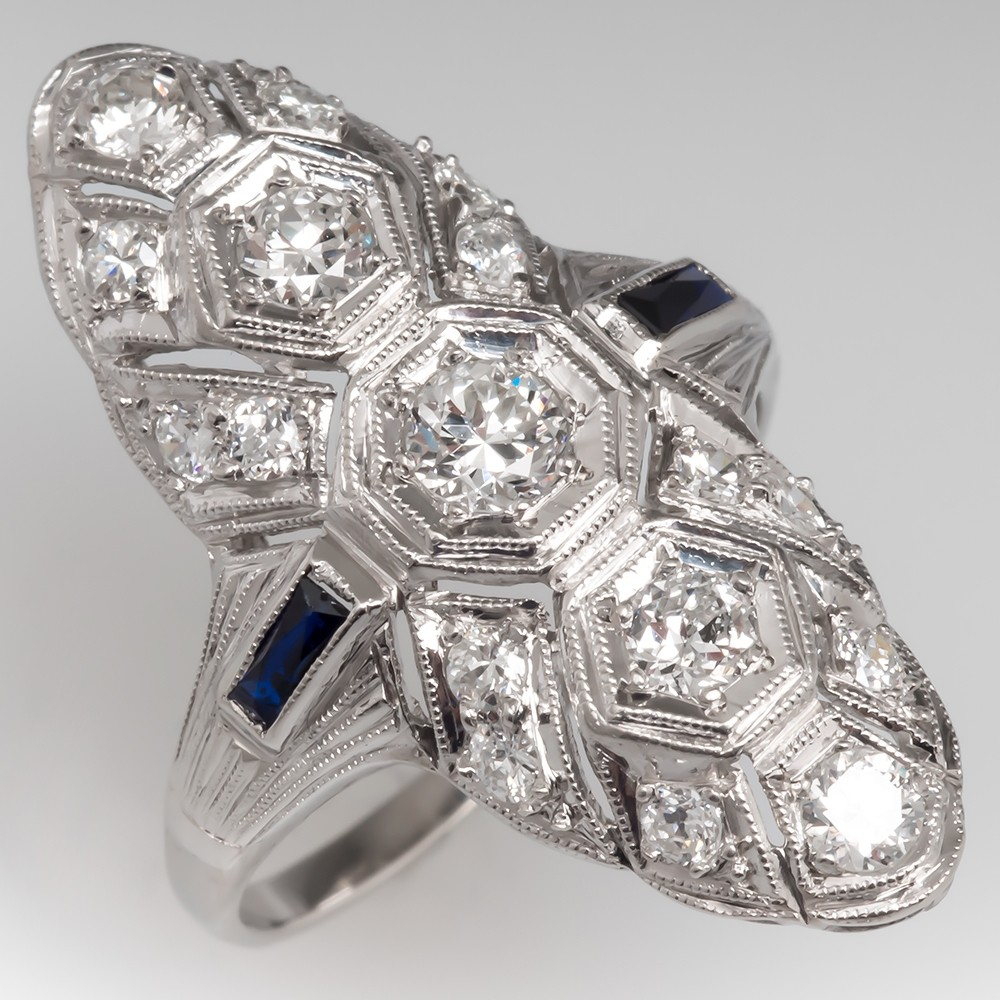Art Deco Diamond & Sapphire North to South Dinner Ring Platinum Filigree
