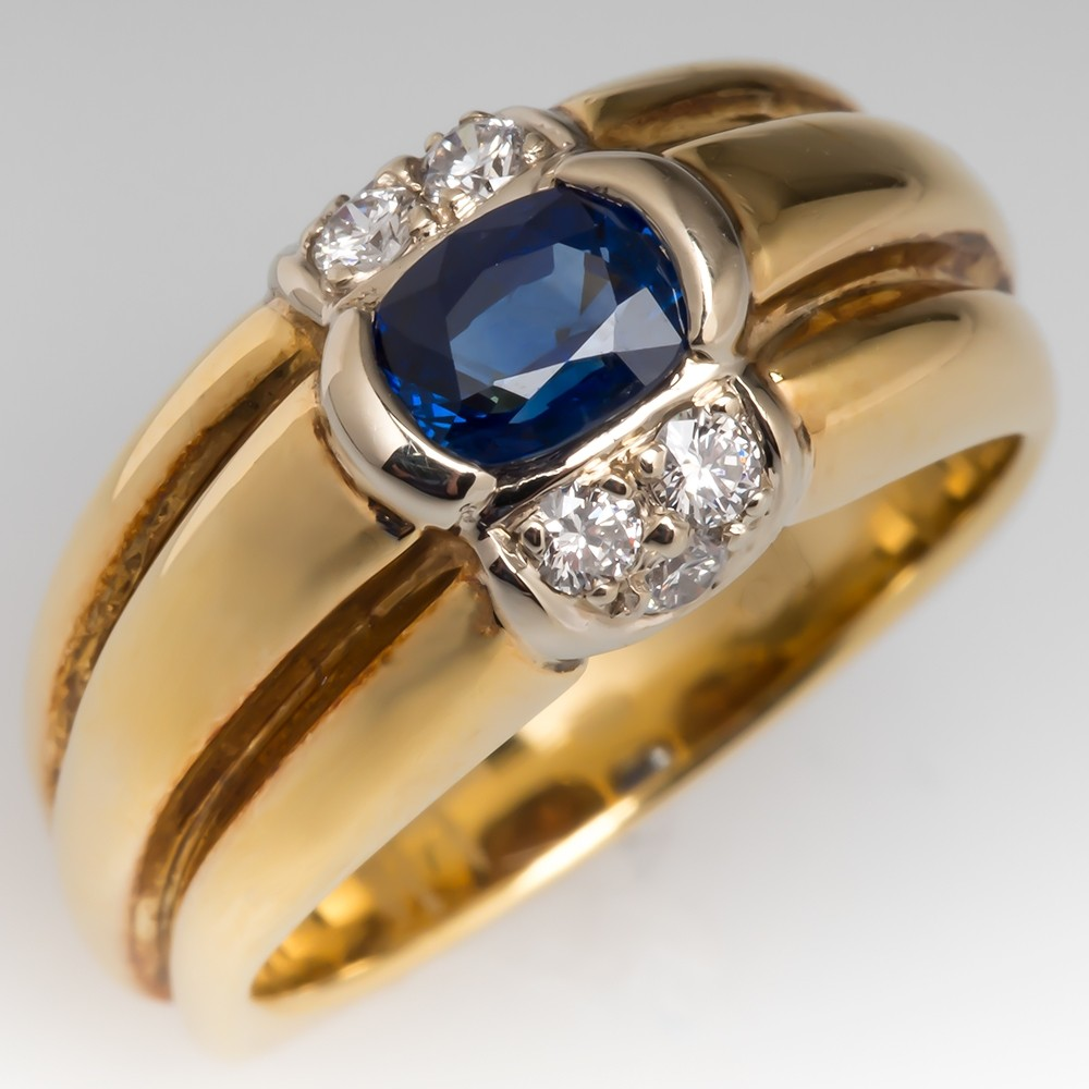 Blue Sapphire & Diamond Wide Band Ring 18K Yellow Gold