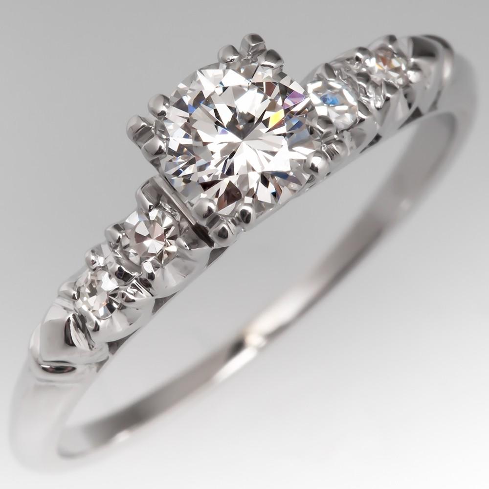 1/2 Carat G/VS1 Round Brilliant Diamond Vintage Engagement Ring 14K