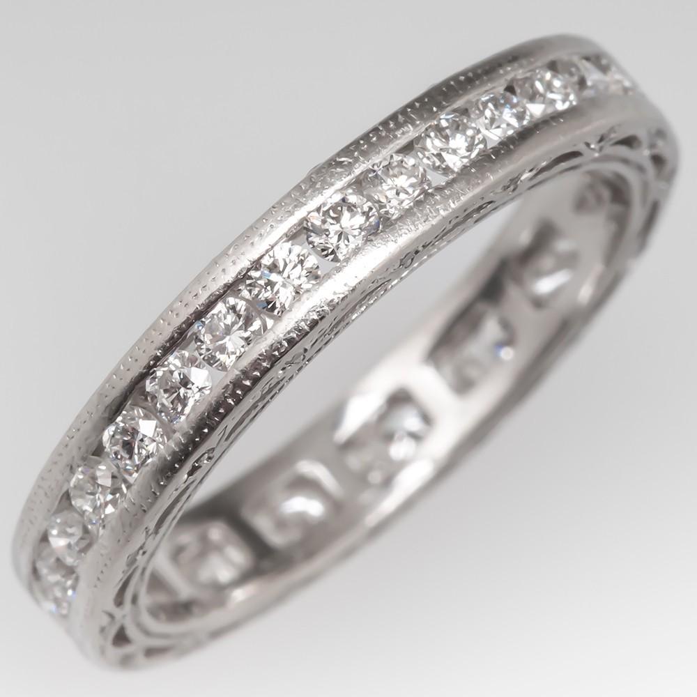 Detailed Platinum Diamond Eternity Wedding Band, Size 4.25