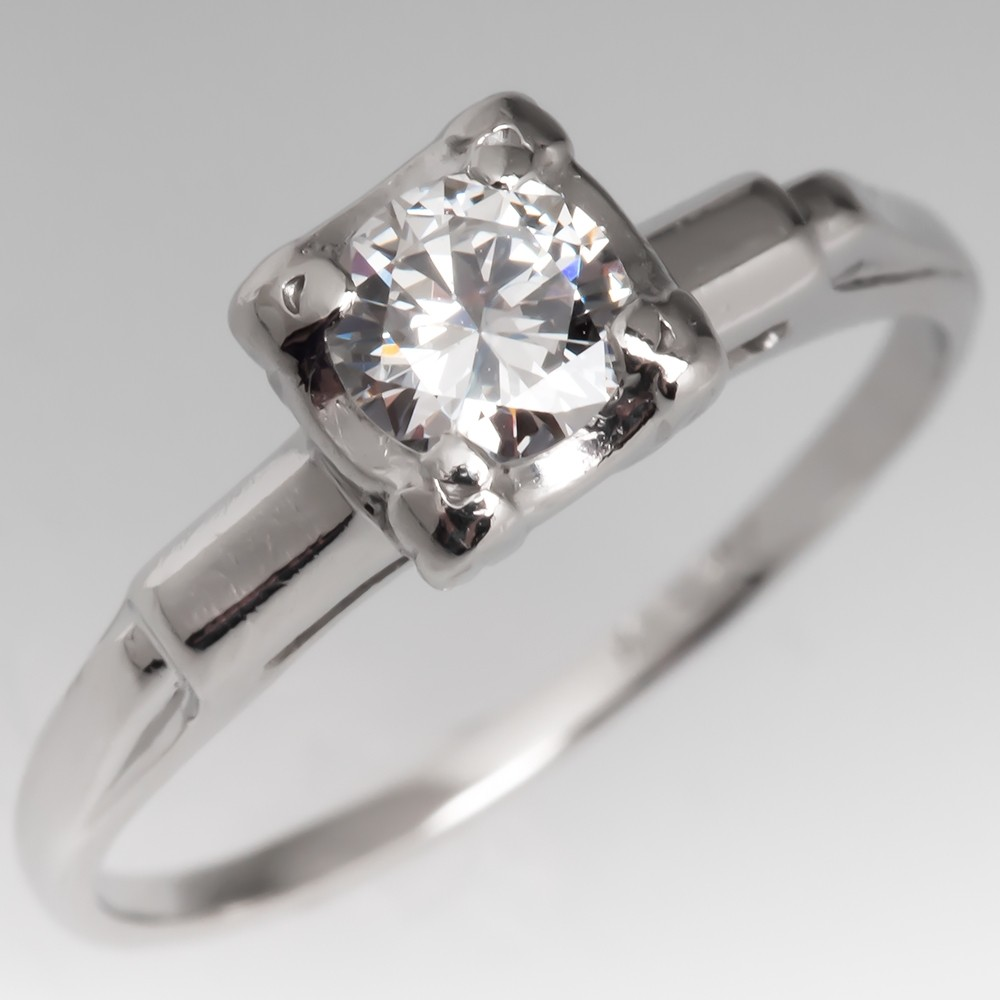 Vintage Round Brilliant Diamond Engagement Ring Platinum .32CT F/VVS2