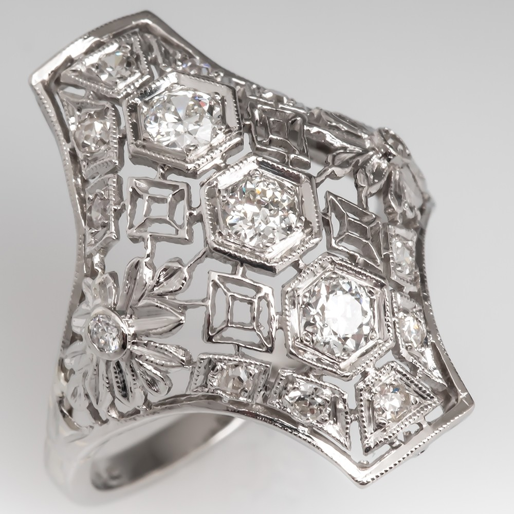 Vintage Diamond North to South Dinner Ring Filigree Platinum
